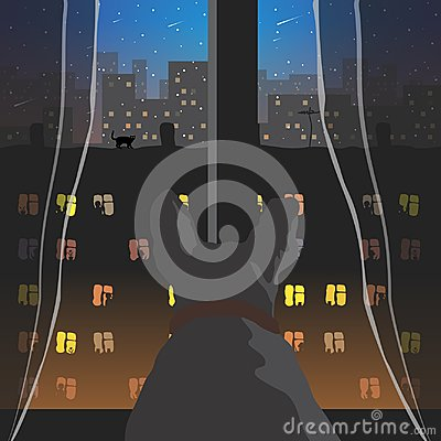 Free View From The Window. Vector Format. Stock Image - 107483001
