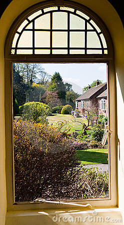 View Of Garden Through A Window Royalty Free Stock Images