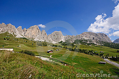 View from Gardena pass - Dolomites, Italy