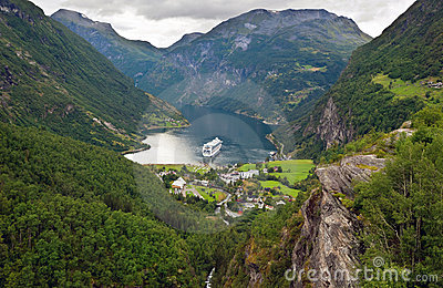 Top view of Geirangerfjord (Norway)