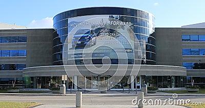View of General Motors headquarters at Oshawa, Ontario, Canada 4K. A View of General Motors headquarters at Oshawa, Ontario, Canada 4K stock video footage