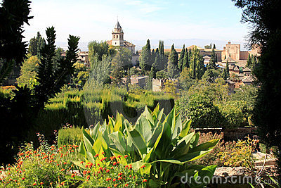View from the Generalife, Alhambra, Granada, Spain