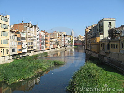 View of Girona old town with a river