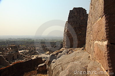 View from Golkonda Fort with wall, Hyderabad Editorial Stock Image