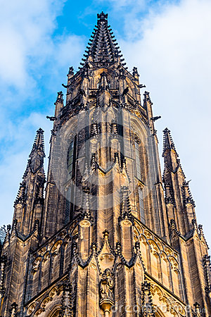 View on gothic part of St. Vitus cathedral in Prague Castle and deep blue sky above