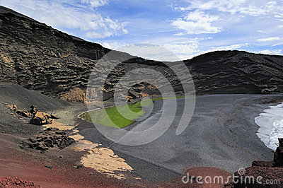 Green Lagoon in volcanic landscape, El Golfo, Lanzarote, Canary