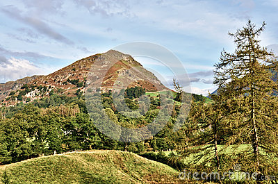 View of Helm Crag across a wooded landscape.