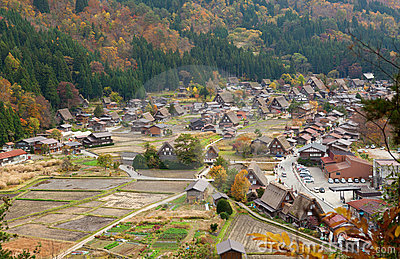 View of the historic village Shirakawa-go