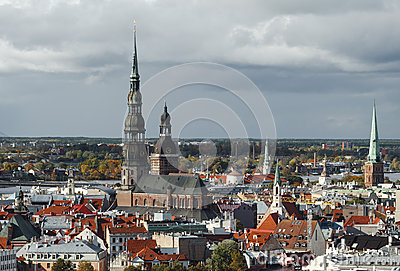View on historical center of Riga