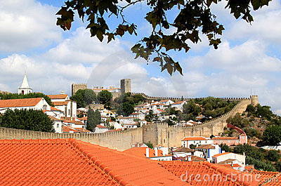 View of the historical fortress Obidos, Portugal