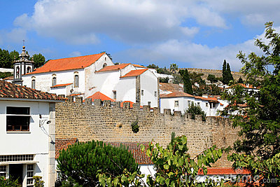 View of historical fortress Obidos, Portugal