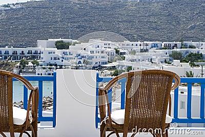 View from hotel deck mykonos