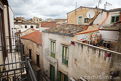 View on house roofs in narrow street