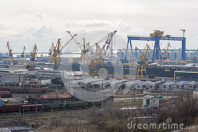 View of industrial port with cranes Editorial Photo