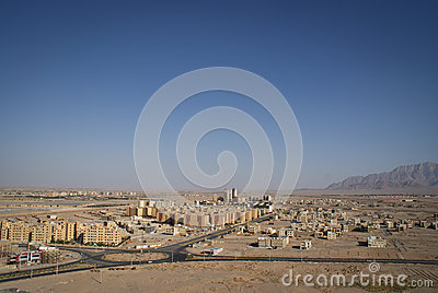 View of Iranian desert city of Yazd