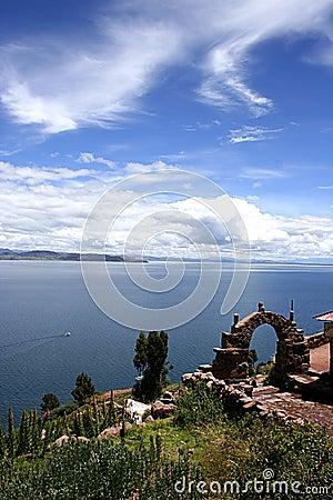 View from isla del sol Lake Titicaca