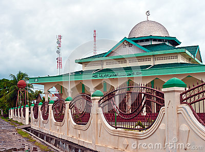 View of islamic mosque on a remote tropical island