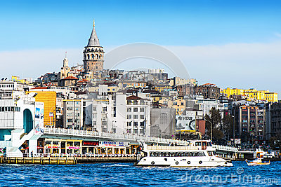 View of Istanbul and Galata tower and bridge Editorial Photo