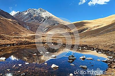 View of Jang la pass, yasagumba trail, guerrilla trek Stock Photo