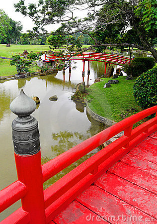 View from Japanese wooden bridge