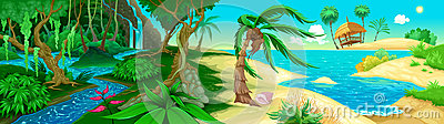 View on the jungle and sea Vector Illustration
