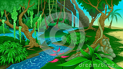 View in the jungle Vector Illustration