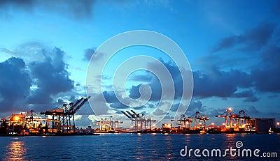 View of Kaohsiung Harbor at Dusk