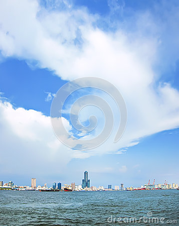 View of Kaohsiung Harbor Stock Photo