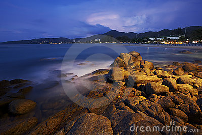 View of Karon beach at dawn