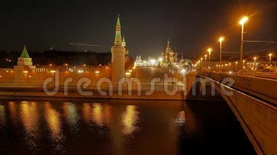 The view on the Kremlin, Moscow River, Red Square stock video footage