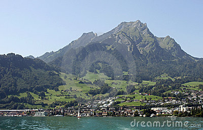 View from Lake Lucerne to Hergiswil and Pilatus