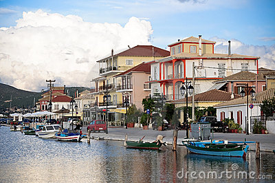 View of Lefkada town in the evening,