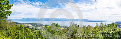 View of the Leman Lake from Signal de Bougy park