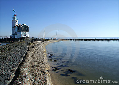 View on the lighthouse of Marken, the Netherlands