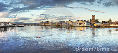 View of Limerick City at dusk in Ireland.