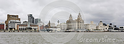 A View of Liverpool and the Mersey River Editorial Photography