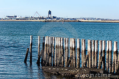 View of Logan Airport from Fort Independence at Castle Island