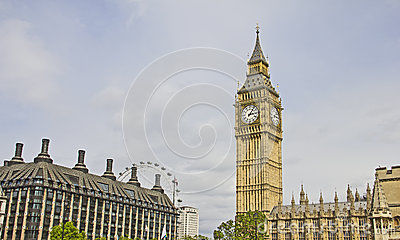 View of London with the Big Ben and the London Eye Editorial Stock Photo