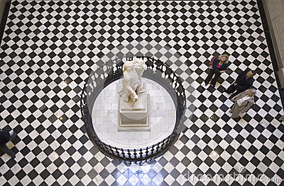 View of looking down at life-size statue of George Washington Editorial Photo
