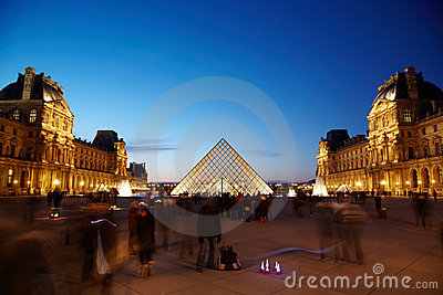 View on Louvre pyramid from inner courtyard side Editorial Stock Photo