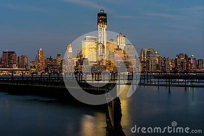 View of Lower Manhattan from New Jersey at Sunset.