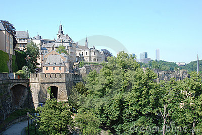 Luxembourg city - views old town with city wall, church, houses