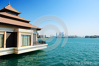The view from luxury villa on Palm Jumeirah man-made island