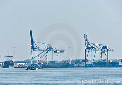View on Maas river ports of Rotterdam
