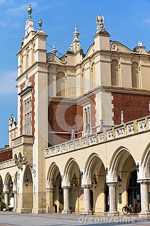 View of main market square with renaissance sukiennice in cracow in poland