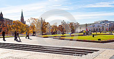 View of Manege Square in Moscow in autumn Editorial Stock Image