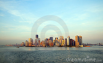 View at Manhattan from sea
