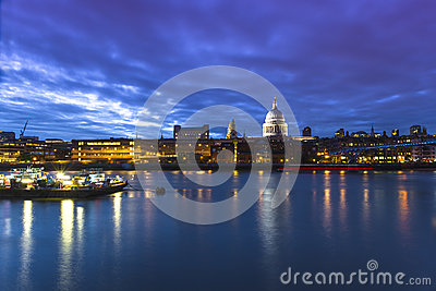View at Millennium bridge and London skyline Editorial Photo