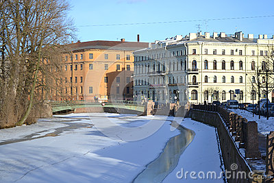 View of Moika River at winter