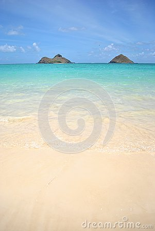 View of Mokolua Islands, Lanikai Beach Oahu